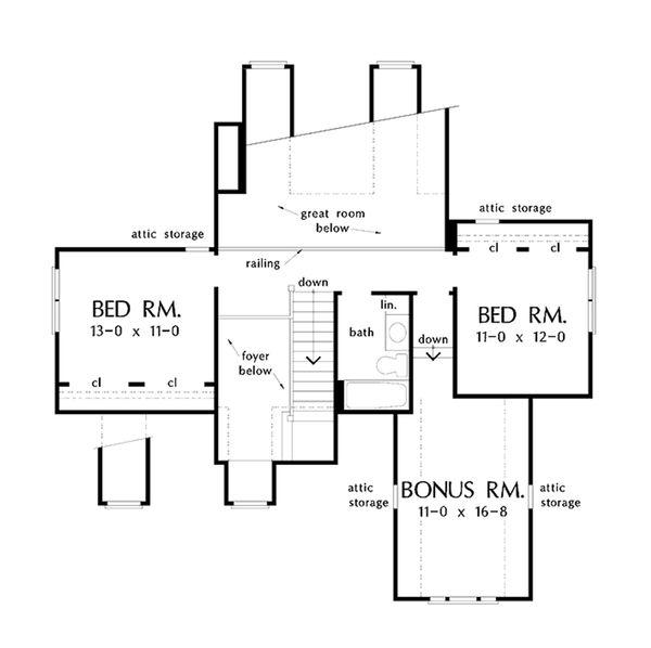 Country Floor Plan - Upper Floor Plan Plan #929-52