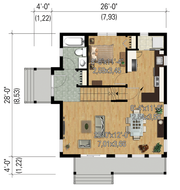 Modern Floor Plan - Main Floor Plan Plan #25-4364