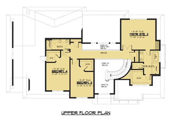 Modern Floor Plan - Upper Floor Plan #1066-53