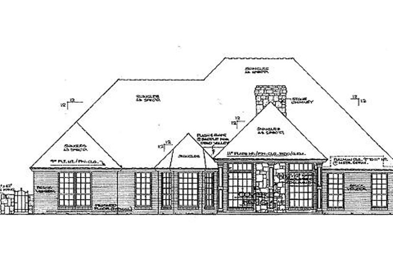 European Exterior - Rear Elevation Plan #310-851 - Houseplans.com