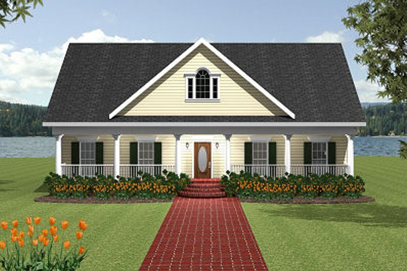 Southern Exterior - Front Elevation Plan #44-154