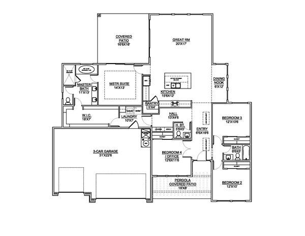 Home Plan - Adobe / Southwestern Floor Plan - Main Floor Plan #1073-31