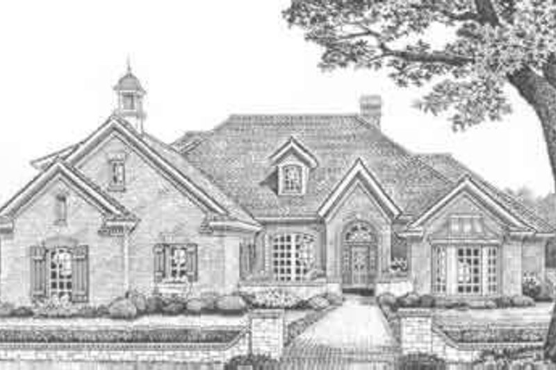 European Style House Plan - 4 Beds 4 Baths 2569 Sq/Ft Plan #310-375 Exterior - Front Elevation