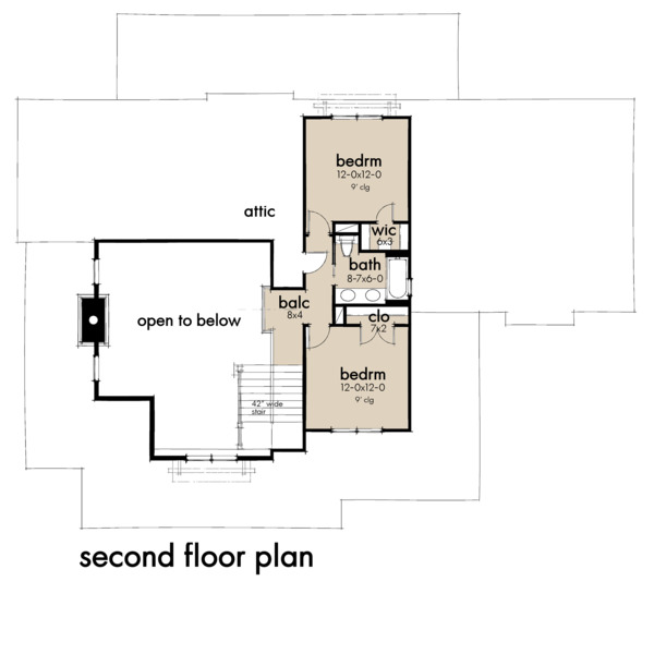 Farmhouse Floor Plan - Upper Floor Plan Plan #120-261