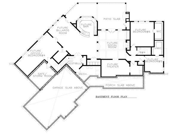 House Plan Design - Craftsman Floor Plan - Lower Floor Plan #54-381