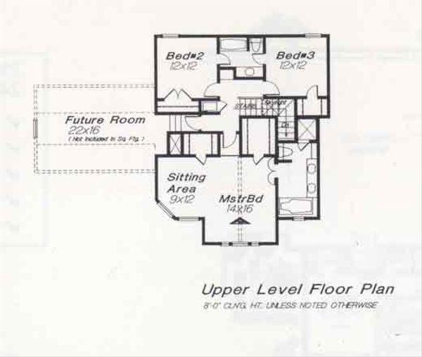 Colonial Floor Plan - Upper Floor Plan #310-818