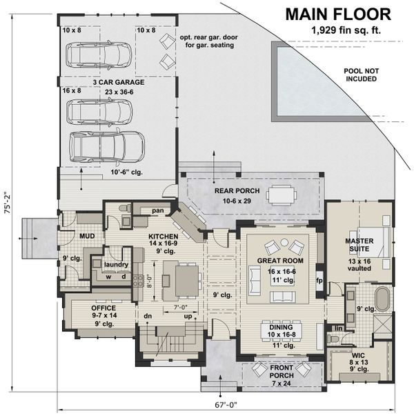 Farmhouse Floor Plan - Main Floor Plan Plan #51-1139