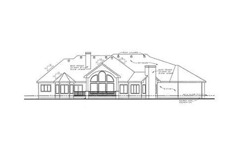 European Exterior - Rear Elevation Plan #20-1755 - Houseplans.com