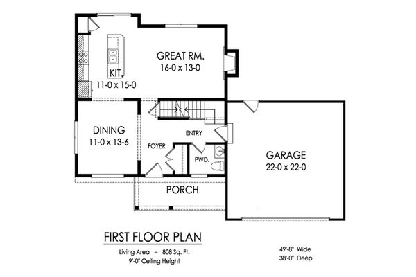 Traditional Floor Plan - Main Floor Plan Plan #1010-220