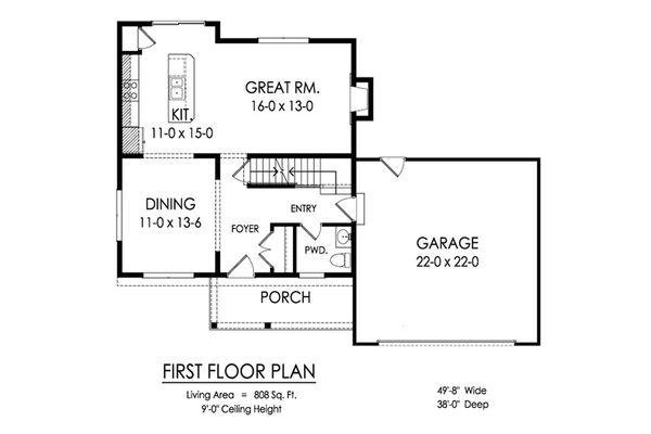 Traditional Floor Plan - Main Floor Plan Plan #1010-220