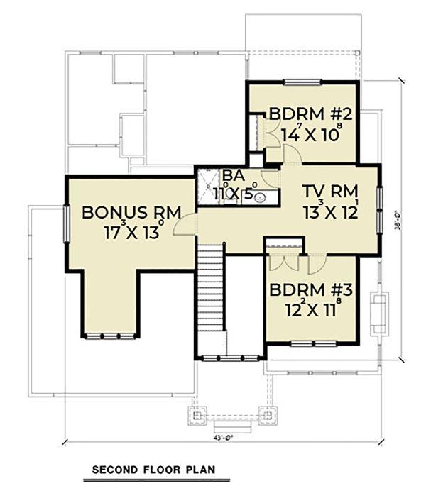 Craftsman Floor Plan - Upper Floor Plan Plan #1070-60