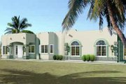 Adobe / Southwestern Style House Plan - 4 Beds 2 Baths 2056 Sq/Ft Plan #1-1411 Exterior - Front Elevation