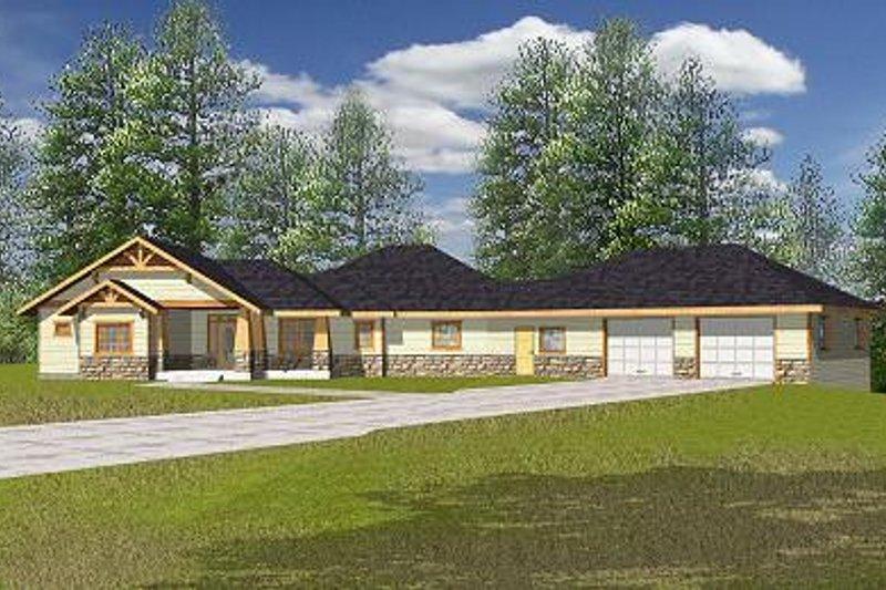 Bungalow Exterior - Front Elevation Plan #117-515 - Houseplans.com