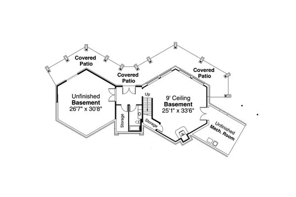Craftsman Floor Plan - Lower Floor Plan Plan #124-1206