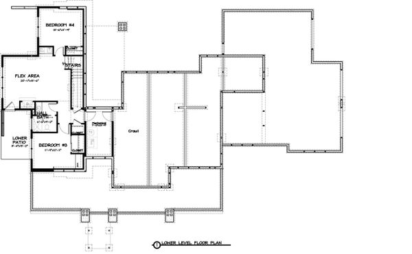 Ranch Floor Plan - Lower Floor Plan Plan #895-28
