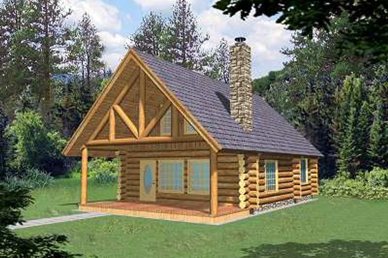 Home Plan - Log Exterior - Front Elevation Plan #117-500