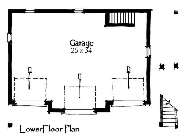 Craftsman Floor Plan - Lower Floor Plan Plan #921-16