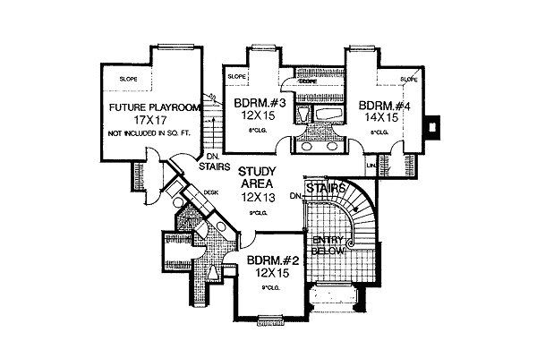European Floor Plan - Upper Floor Plan Plan #310-601