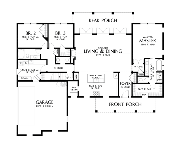 Farmhouse Floor Plan - Main Floor Plan Plan #48-980