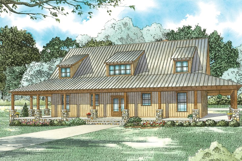 House Blueprint - Country Exterior - Front Elevation Plan #17-3431