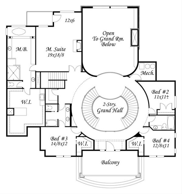 European Floor Plan - Upper Floor Plan Plan #509-45