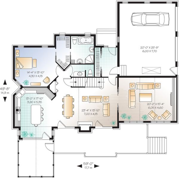 Craftsman Floor Plan - Main Floor Plan Plan #23-419