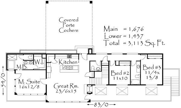 Modern Style House Plan - 5 Beds 3.5 Baths 3113 Sq/Ft Plan #509-2 Floor Plan - Main Floor Plan