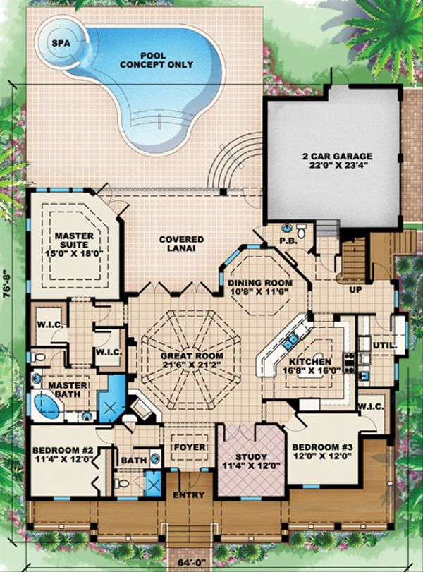 Beach Floor Plan - Main Floor Plan Plan #27-446