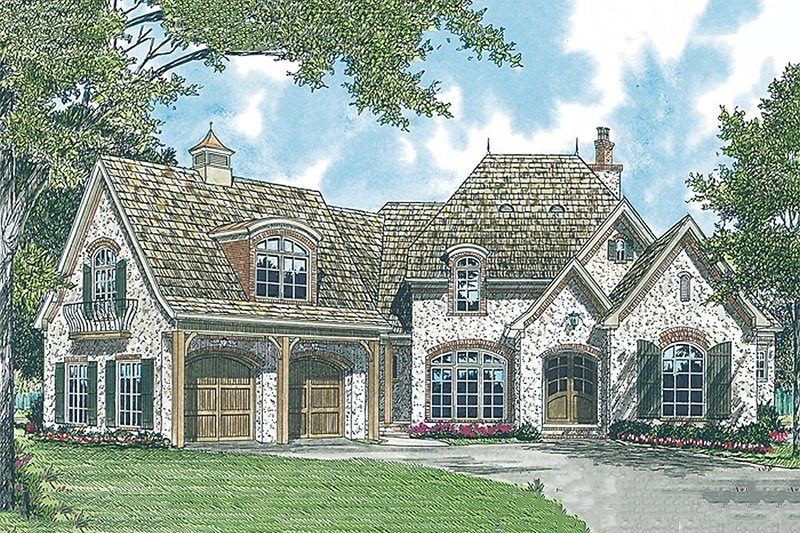 European Exterior - Front Elevation Plan #453-34 - Houseplans.com