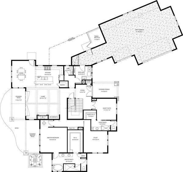 Craftsman Floor Plan - Main Floor Plan Plan #895-50