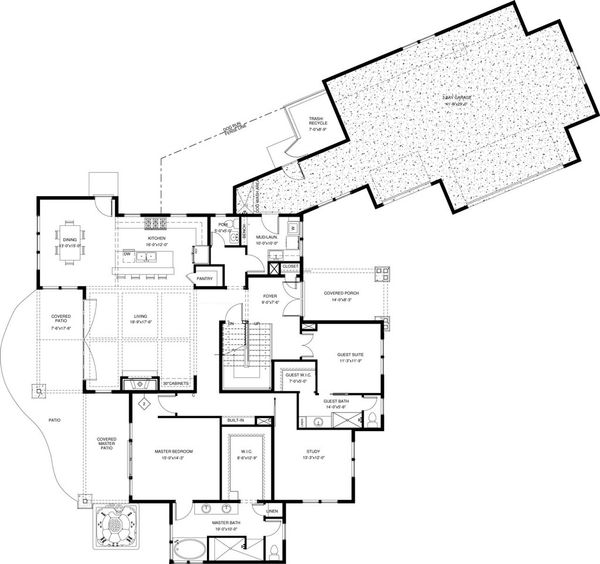 Craftsman Floor Plan - Main Floor Plan #895-50