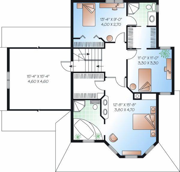 Farmhouse Floor Plan - Upper Floor Plan Plan #23-863