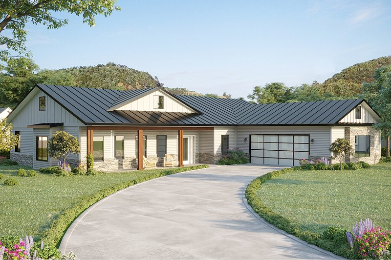 Farmhouse Style House Plan - 3 Beds 2 Baths 2242 Sq/Ft Plan #1077-3 Exterior - Front Elevation