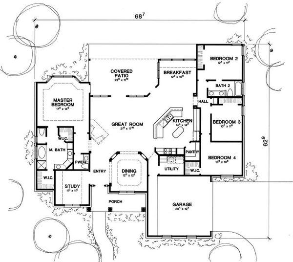 European Floor Plan - Main Floor Plan Plan #472-12