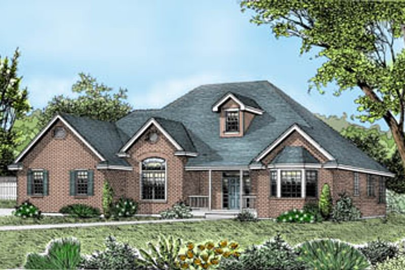 Traditional Style House Plan - 3 Beds 2 Baths 2200 Sq/Ft Plan #102-101 Exterior - Front Elevation