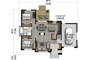 Contemporary Style House Plan - 2 Beds 1 Baths 1116 Sq/Ft Plan #25-4549 Floor Plan - Main Floor Plan