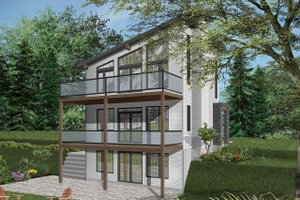 Home Plan Design - Contemporary Exterior - Rear Elevation Plan #23-2660