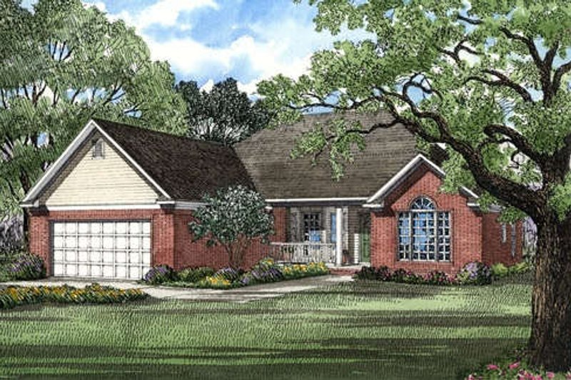 Traditional Style House Plan - 3 Beds 2 Baths 1538 Sq/Ft Plan #17-134 Exterior - Front Elevation