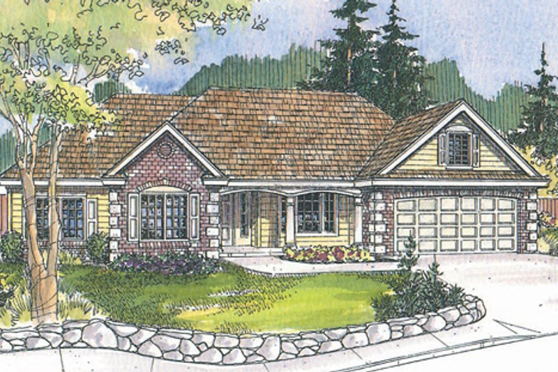 Ranch Exterior - Front Elevation Plan #124-497