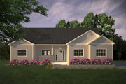 Ranch Style House Plan - 3 Beds 2 Baths 1403 Sq/Ft Plan #427-11 Exterior - Front Elevation