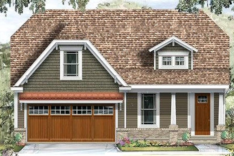 Craftsman Style House Plan - 3 Beds 2 Baths 1600 Sq/Ft Plan #424-191 Exterior - Front Elevation