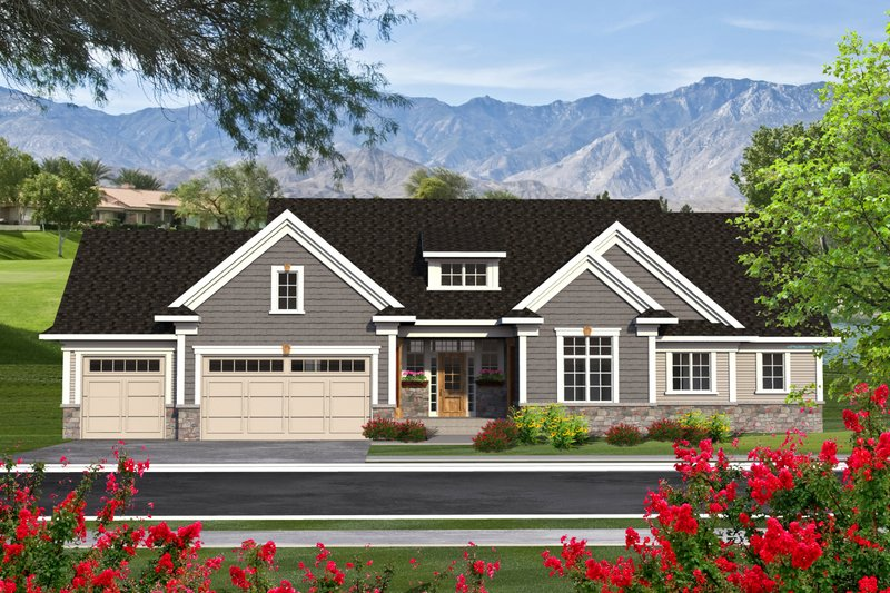 Ranch Exterior - Front Elevation Plan #70-1193