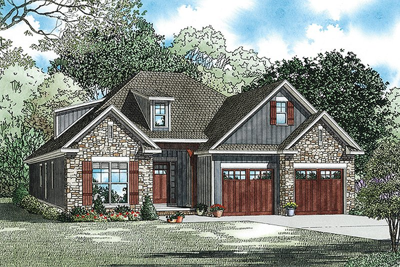 European Style House Plan - 3 Beds 2 Baths 1738 Sq/Ft Plan #17-2464 Exterior - Front Elevation