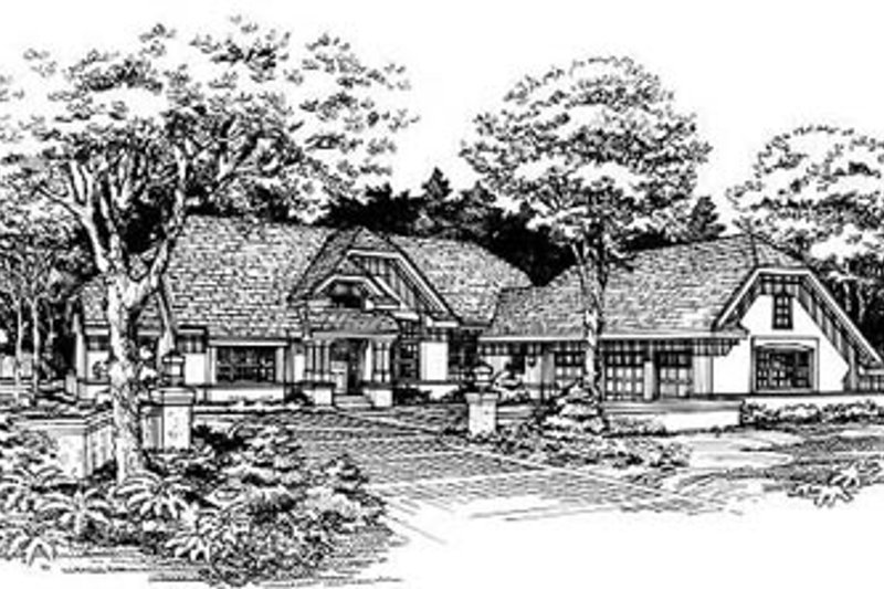 European Style House Plan - 3 Beds 2.5 Baths 2029 Sq/Ft Plan #50-169 Exterior - Front Elevation