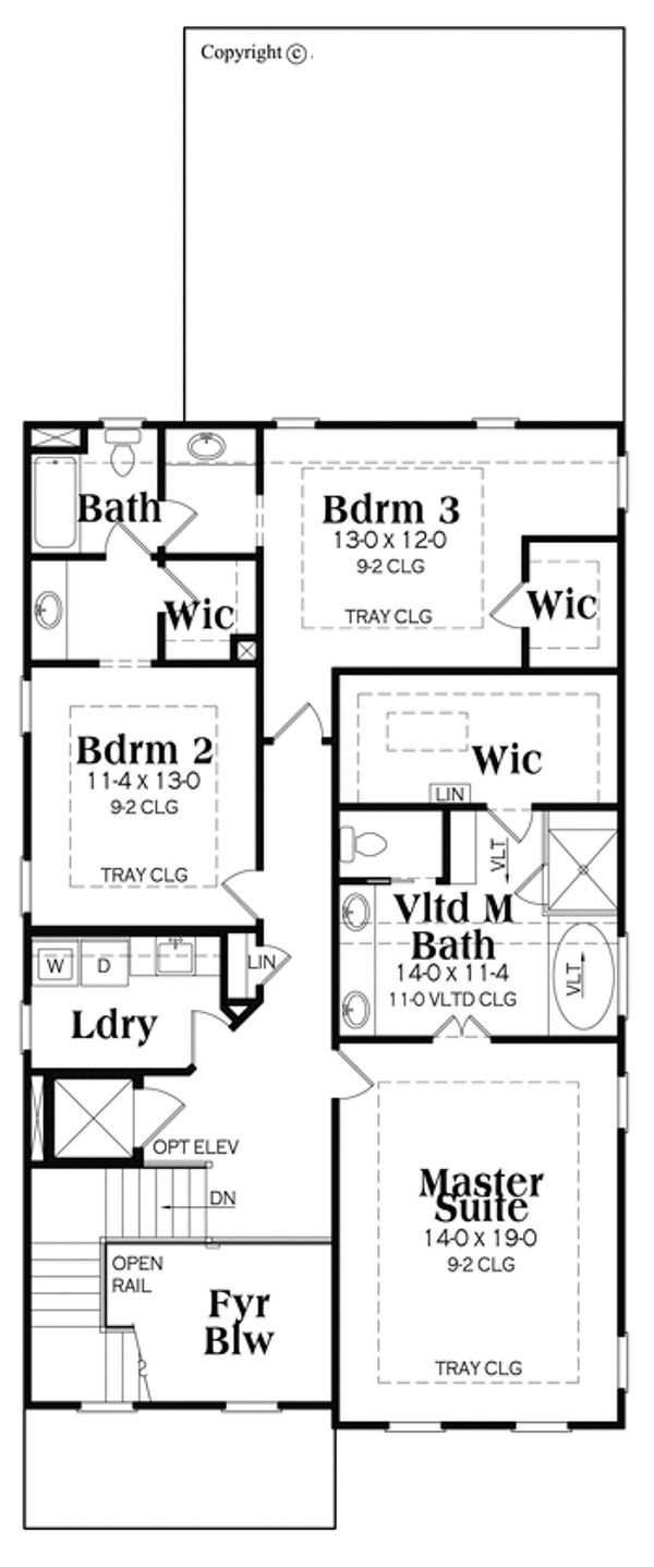 Craftsman Floor Plan - Upper Floor Plan Plan #419-276