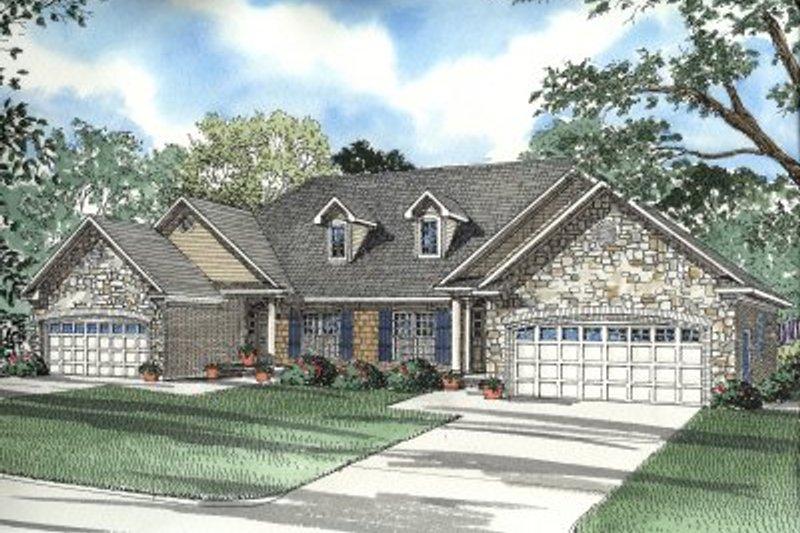 Architectural House Design - European Exterior - Front Elevation Plan #17-1076