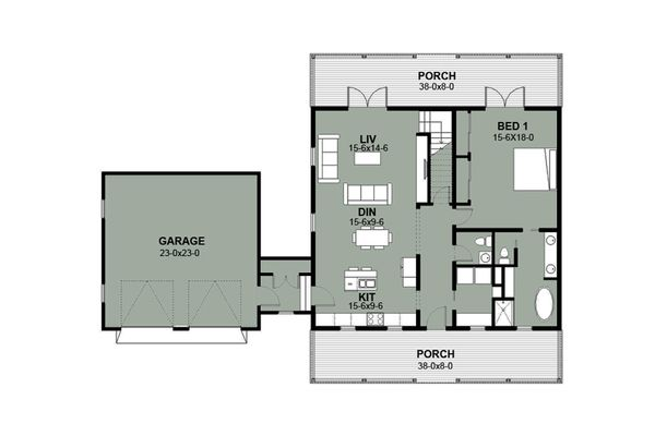 Farmhouse Floor Plan - Main Floor Plan Plan #497-8