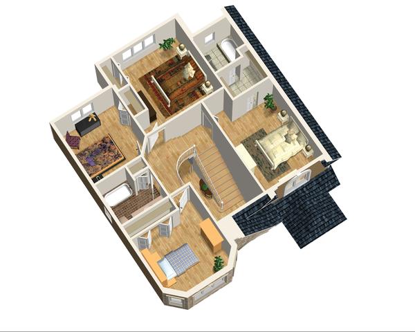 European Floor Plan - Upper Floor Plan Plan #25-4474