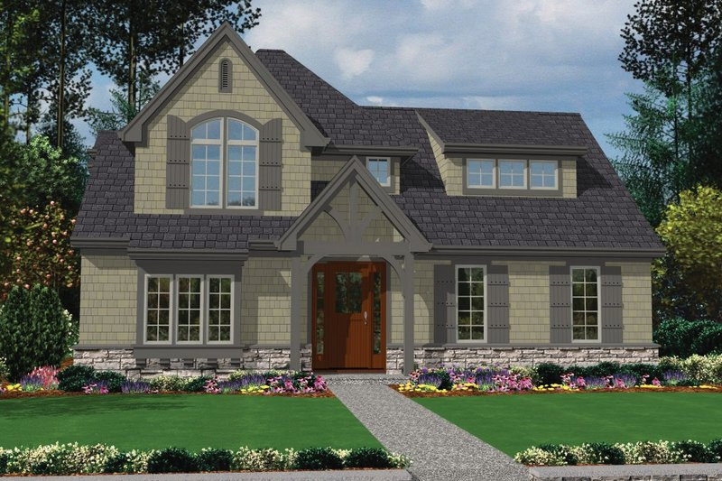 European Exterior - Front Elevation Plan #48-557