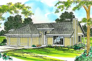 Ranch Exterior - Front Elevation Plan #124-183